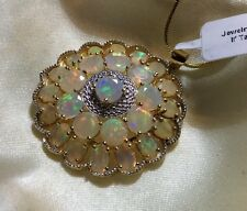 10 Cts Ethiopian, Opal Pendant, Large, Yellow Gold On Sterling Silver 3.8 Cm