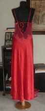 Victoria Secret siren Red Satin Nightgown Gown Sexy Sheer Back Sequins Bust 36