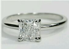 SOLITAIRE ENGAGEMENT 1.5 CARAT BRILLIANT PRINCESS CUT RING SOLID 14K WHITE  GOLD