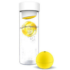Ice Ball Flavour It Glass Water Bottle With Fruit Infuser 20 oz SWG13 Yellow