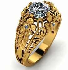 14K Yellow Gold Round Vintage style Engagement Ring Mount Flower Diamonds SI G-H