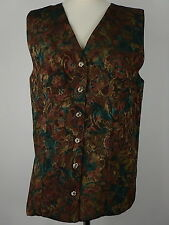 Vtg Womens Mixed Brown Green Pattern Long Gilet Waistcoat Vest Top Size UK Large