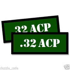 32 ACP Ammo Can GREEN .32 Stickers 2x Ammunition Gun Case Labels  Decals 2 pack