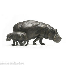 Solid Bronze Hippo Sculpture Hippopotamus Mother & Baby by Jonathan Sanders