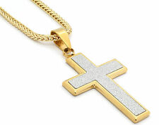 "Mens 14k Gold Plated Silver Stardust Flat Cross Pendant Hip-Hop 30"" Franco Chain"