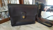 VINTAGE ORIGINAL COACH BLACK LEATHER LARGE FLAP MESSENGER CROSSBODY BAG USA