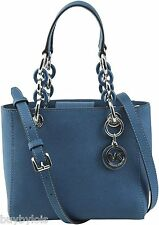 Michael Michael Kors Cynthia Mini Satchel, Steel Blue / Silver