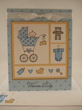 """Stampin Up """"Baby Bundle"""" Blue Welcome Baby Handmade Card"""