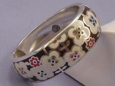 Brighton POLLY Flower Enamel Hinged Silver Bracelet Bangle
