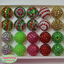 20mm Bubblegum Beads 20 CHRISTMAS MIX  Rhinestone Beads Chunky Jewelry Necklace