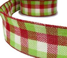 Christmas Red Green White Plaid Country Rustic Primitive Burlap Wired Ribbon 2 1