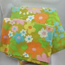Vtg bed sheet set fitted flat pillow case FLOWER POWER MOD orange pink blue