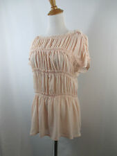 A33 NUDE PINK GIAMBATISTA VALLI WOMENS LAYERED PLEATS RUFFLE SHORT SLEEVE TOP M