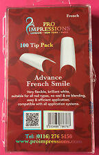 Pro Impressions Box 100 Advance French Smile Tips White Nails Acrylic Gel