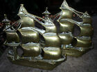 VINTAGE PAIR OF SOLID BRASS TALL SAILING SHIP BOOKENDS BOOK ENDS