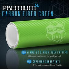 "3D Green Carbon Fiber Matte Vinyl Wrap Bubble Free Air Release 12"" x 60"" In Roll"