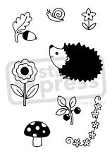 A7 'Hedgehog In The Garden' Unmounted Rubber Stamp (SP001299)