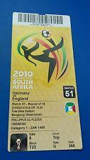 Eintrittskarte/ Ticket WM 2010 #51 Germany - England/ Deutschland - England