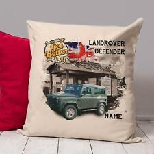 Personalised landrover DEFENDER Car Vintage Cushion Dad Cover Gift