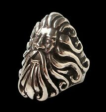 Solid Sterling Silver Handmade Poseidon God Atlantis Ring - All Sizes