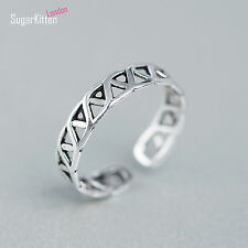 Vintage Solid 925 Sterling Silver 4.5mm Celtic Finger/Thumb Ring Open Band UK