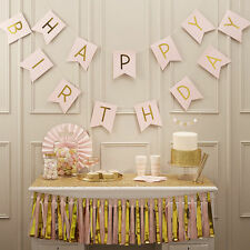 Pastel Pink Happy Birthday Bunting Garland Gold Letters Party Hanging Banner POP