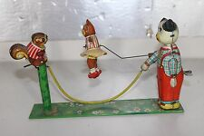 Vtg Japan TPS Skip ROpe Tin Litho Wind Up Toy Animals Playing Rope