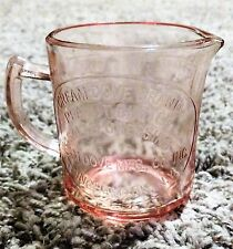 DEPRESSION PINK GLASS CREAM DOVE PEANUT BUTTER BINGHAMTON NY MEASURING CUP