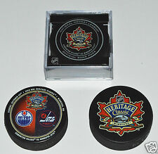 3 HERITAGE CLASSIC PUCKS SET 2016 Edmonton Oilers vs Winnipeg Jets Game Logo