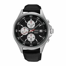 Seiko Mens Black Chronograph Dial Black Leather Strap Watch SKS485P1 RRP £200