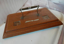 Trench art style desktop inkwell and pen stand Mahogany copper and aluminium.
