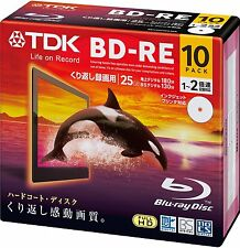 10 TDK Blu ray 25gb 2x Blank Rewritable Bluray Printable BD-RE japan