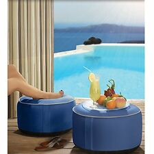 Foot Stool Ottoman Round Foot Rest Seat Table Indoor Outdoor Poufs Lounge Pillow