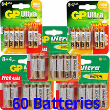 60 GP Batteries ULTRA 1.5V ALKALINE HIGH PERFORMANCE 2 x 12pks AAA, 3 x 12pks AA