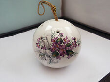 SALLIE ROBINSON BALL SHAPED POMANDER WITH A SPRAY OF PURPLE VIOLETS PATTERN