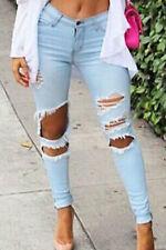 Pantaloni Jeans aperto tagliato strappato rotto Denim Destroyed Cutting Jeans M