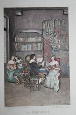 1884 Estampe originale J. A. Gonzalez Bibliothèque XVIIe / pour Uzanne sur Japon