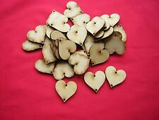 3cm MDF HEARTS with 2 holes  (x 50)  LASER CUT MDF WOODEN CRAFT SHAPES