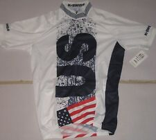 K Swiss Ironman Men's Small Classic Short Sleeve Cycling Bike Jersey USA Colors