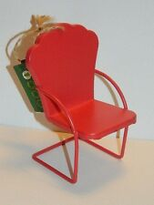 Vintage Christmas decoration 1960s RETRO mid-century metal patio chair RED NWT