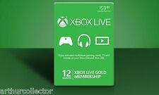 12 Month Xbox One/360 Live Prepaid Gold FAST SHIPPING