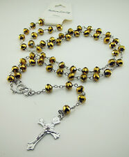 Free Rosary Faith INRI Gold colors Crystal Beaded cross Pendants Clasp Necklaces