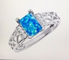 18K White Gold-Plated & Created Blue Opal Baguette-Cut Ring: Size 9 White