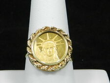 14k Yellow Gold Ring with .9999 Gold Liberty Coin