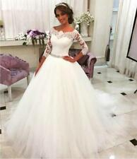 2016 New Elegant 3/4 Sleeve white/ivory Lace Wedding Dress Custom