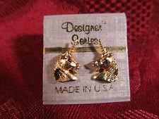 Designer Series Gold PLated Unicorn Post Earrings Pair Made In U.S.A.