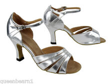 1680 Silver Leather Swing Salsa Mambo Latin Dance Shoes heel 3 Size 8 Very fine