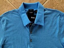 Hugo Boss Black Label Arpino 43 Polo Shirt Men XXL Blue Stripd $105 Slim Fit NWT