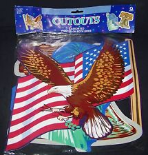 "Patriotic Cutouts 12"" Wall Posters US Flag Bald Eagle Statue of Liberty 3 Count"