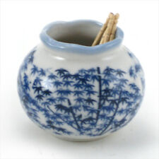 "Japanese 3"" Blue Bamboo Grove Toothpick Holder Chikurin, Authentic Made in Japan"